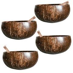Set Family 4 Boluri din nucă de cocos ecologică + Tacâmuri din lemn de cocos | Coconut Bowls