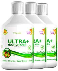 Pachet 3 x Ultra+ Detox Multivitamine Lichide cu 63 Ingrediente, 500 ml | Swedish Nutra
