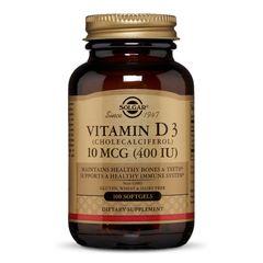 Vitamina D3 (Colecalciferol) 400IU, 100 capsule moi | Solgar