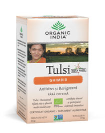 Ceai Tulsi Ghimbir, Antistres si Revigorant 18pl | Organic India