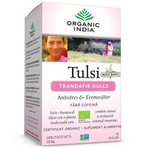 Ceai Tulsi Trandafir Dulce, Antistres & Fermecator 18pl | Organic India